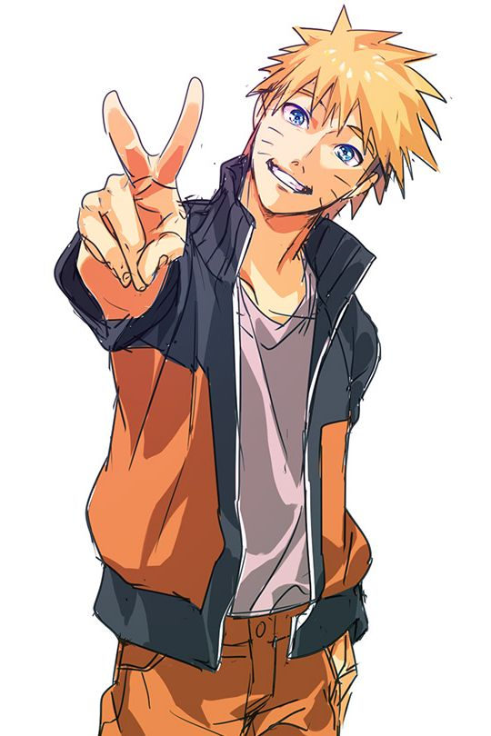 Naruto Uzumaki Giving The Peace Sign