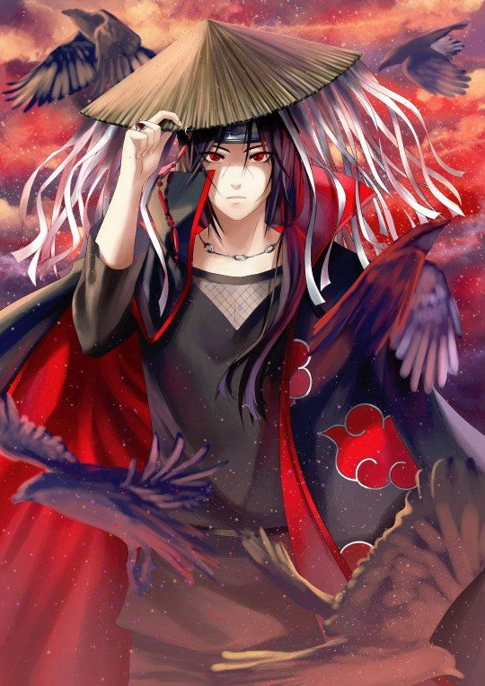 Itachi Uchiha Wearing A Straw Hat In Painting Anime Images